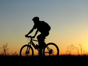 istock sunset bike rider facing left