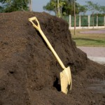 manure pile with shovel